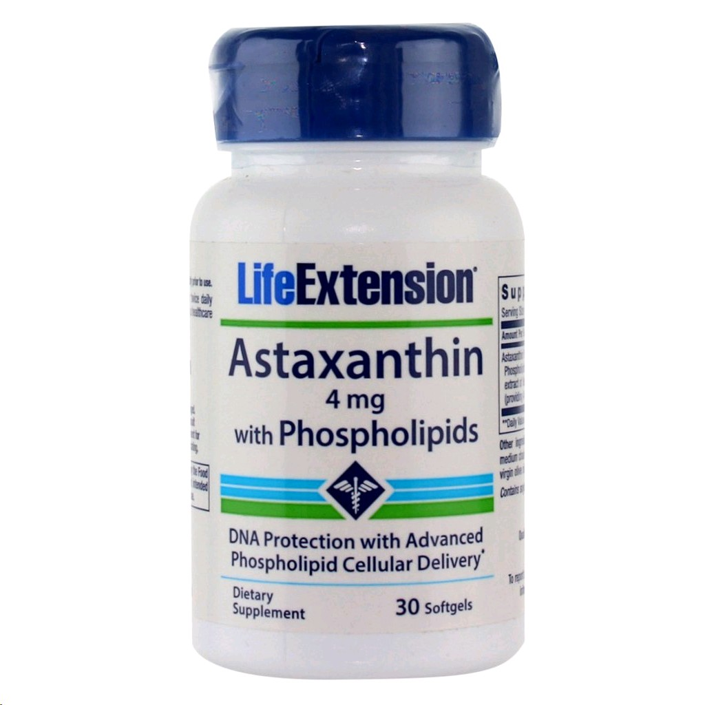 LIFE EXTENSION ASTAXANTHIN 4MG AMB PHOSPHOLIPIDS 30 CAPSULES